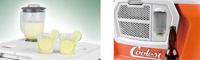(圖左)左上蓋可打冰沙,右上蓋是杯架,風大的海邊也不會翻倒飲料。 (圖右)磁性啤酒開瓶器。