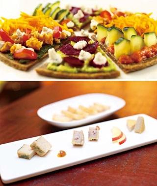 (上圖)起司重奏可品嚐到3種起司風味,(由左到右)分別是藍紋起司、紅酒洋蔥起司和原味起司。 (下圖)裸食的披薩和一般會「牽絲」的披薩不同,強烈的色彩令人印象深刻。