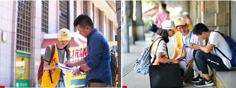 民國黨義工在火車站收到不少歸國旅客、上班族、背包客、甚至火車列車長的連署支持。