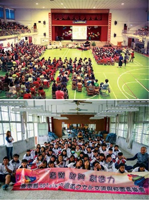 黃凱盈深入偏鄉學校,推動「88台灣巡迴」計劃,讓當地學童有機會接觸古典音樂。圖為台東與新竹的活動情形。