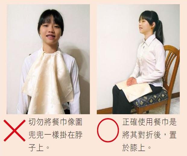 正確使用餐巾是將其對折後,置於膝上
