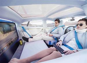 未來自動駕駛上路,人們可望在車內補眠、從事休閒活動、辦公,擁有更多可支配的時間。(圖片提供/Rinspeed)