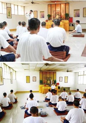 釋迦牟尼佛救世基金會派遣專任禪修教學師資到各地勒戒所,為成癮者進行禪定解毒的輔導教育工作