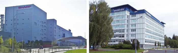 郭台銘的企業帝國早已布局全球、前瞻世界。左圖為鴻海位於日本堺市的夏普廠;右圖是鴻海富士康位於捷克的廠房。(資料來源:維基百科)